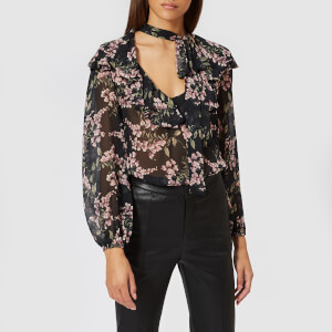 Zimmermann Women's Fleeting Flounce Blouse - Black Wisteria Floral