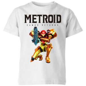 Nintendo Metroid Samus Returns Colour Kid's T-Shirt - White