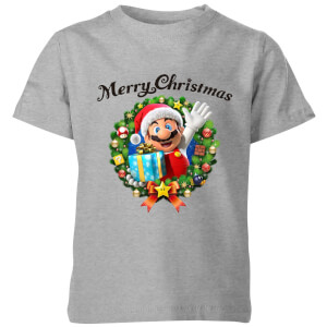 Nintendo Super Mario Merry Christmas Hat Present Kid's T-Shirt - Grey