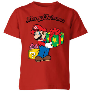 Nintendo Super Mario Merry Christmas Present Kid's T-Shirt - Red