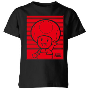 Nintendo Super Mario Toad Retro Line Art Kid's T-Shirt - Black