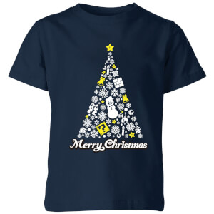 Nintendo Super Mario White Christmas Merry Christmas Kids' T-Shirt - Navy