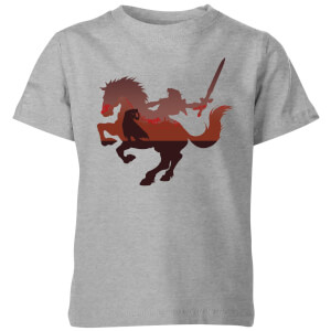 Nintendo The Legend Of Zelda Horse Silhouette Kid's T-Shirt - Grey