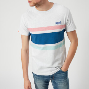 Superdry Men's Orange Label Hardwick Stripe Short Sleeve T-Shirt - Silver Birch Marl