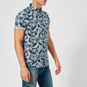 Superdry Men's Shoreditch Short Sleeve Button Down Shirt - Tropical Fern Navy