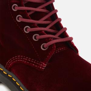 Dr. Martens Women's 1460 Velvet Pascal 8-Eye Boots - Cherry Red: Image 4