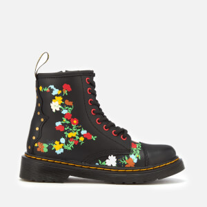 Dr. Martens Kids' 1460 J Pooch Flower T Lamper Leather Lace Up Boots - Black