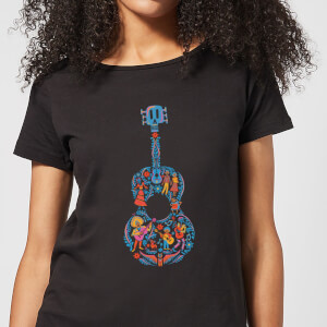 Coco Guitar Pattern Women's T-Shirt - Black