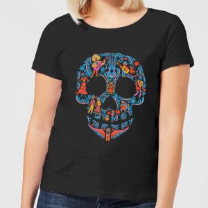 Disney Coco Skull Patroon Dames T-shirt - Zwart