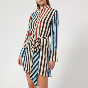 Diane von Furstenberg Women's Long Sleeve Shirt Dress - Carrington Stripe Pacific