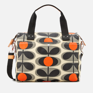 Orla Kiely Women's Canvas Flower Stem Print Zip Messenger Bag - Granite