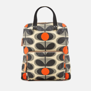 Orla Kiely Women's Canvas Flower Stem Print Backpack Tote Bag - Granite