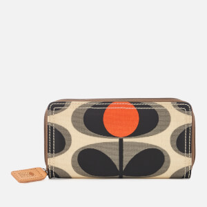 Orla Kiely Women's Canvas Flower Stem Print Big Zip Wallet - Granite