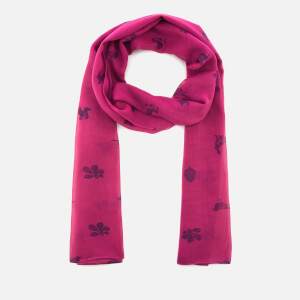 Joules Women's Wensley Etched Animals Woven Scarf - Ruby Pink