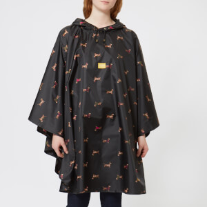 Joules Women's Printed Showerproof Poncho - Black Dachshund