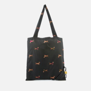 Joules Women's Pacabag Packaway Shopper Bag - Black Dachshund