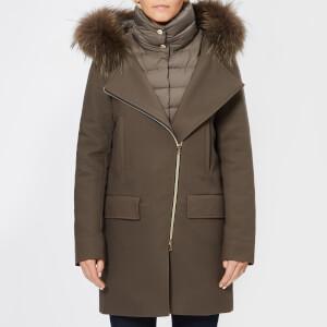 Herno Women's Wool Coat with Fur Collar - Brown