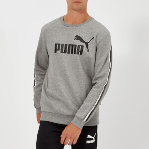 Puma Men's Elevated Essential Tape Crew New Sweatshirt - Medium Grey Heather