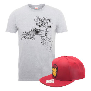 Marvel Comics Iron Man T-Shirt + Snapback Bundle