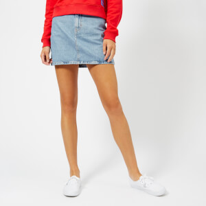 Calvin Klein Jeans Women's High Rise Mini Skirt - Light Stone