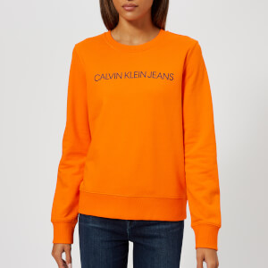 Calvin Klein Jeans Women's Institutional Logo Sweatshirt - Orange Tiger