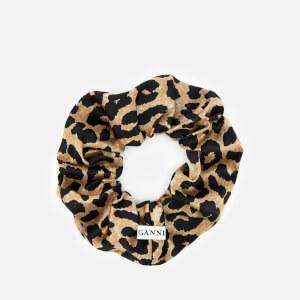 Ganni Women's Calla Silk Scrunchie - Leopard