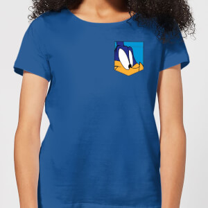 Looney Tunes Roadrunner Face Faux Pocket Women's T-Shirt - Royal Blue