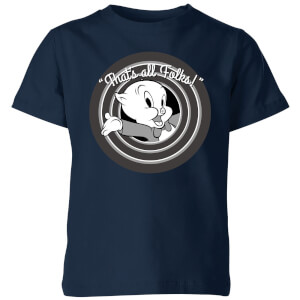 Looney Tunes That's All Folks Porky Pig Kids' T-Shirt - Navy
