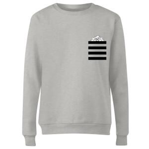Looney Tunes Taz Stripes Pocket Print Women's Sweatshirt - Grey