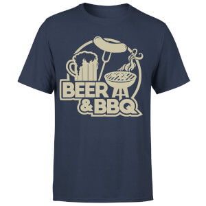 Beer & BBQ Men's T-Shirt - Navy