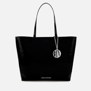 Armani Exchange Women's Patent Logo Tote Bag - Black