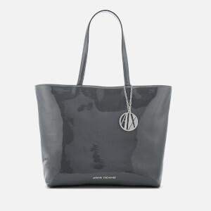 Armani Exchange Women's Patent Logo Tote Bag - Grey