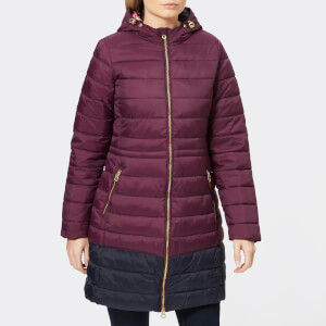 Joules Women's Heathcote Mid Length Colour Block Quilted Coat with Hood - Italian Plum