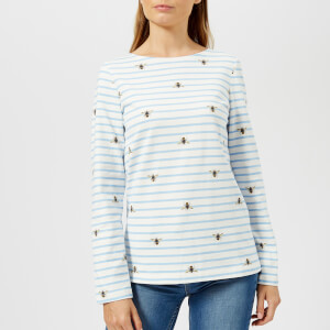 Joules Women's Harbour Print Jersey Top - Cream Stripe Bee
