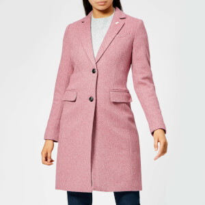 Joules Women's Cheltenham Longline Herringbone Coat - Raspberry