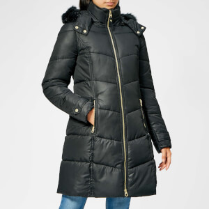 Joules Women's Snowbury Longline Hooded Quilted Coat - Black