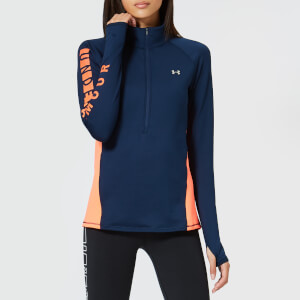 Under Armour Women's Cg Armour Graphic 1/2 Zip Top - Academy/After Burn/Silver