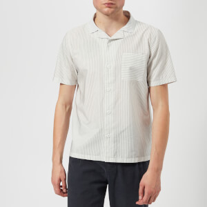 Folk Men's Short Sleeve Soft Collar Shirt - White Charcoal Dot