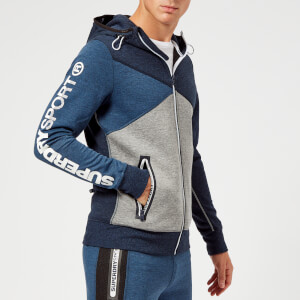 Superdry Sport Men's Spliced Zip Hoody - Midnight Navy Marl/Black