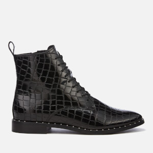KG Kurt Geiger Women's Tilda Leather Croc Lace-Up Boots - Black