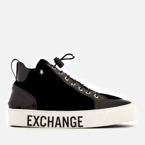 Armani Exchange Women's Velvet Flatform Hi-Top Trainers - Black/Light Gold