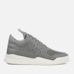 Filling Pieces Gradient Perforated Leather Low Top Trainers - Light Grey