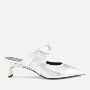 Mulberry Women's Metal Leather Heeled Mules - Silver