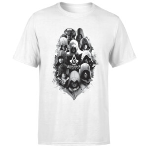 Assassin's Creed Greyscale Hooded Faces Men's T-Shirt - White