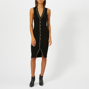 T by Alexander Wang Women's Skinny Rib Sleeveless Dress with Snap Detail - Black