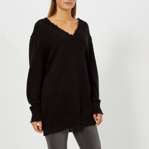 T by Alexander Wang Women's Raw Edge V-Neck Sweatshirt - Black