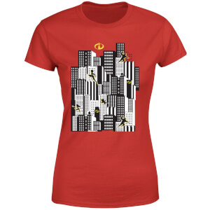 T-Shirt Femme Les Indestructibles 2 Skyline - Rouge