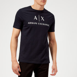 Armani Exchange Men's AX and Script Logo T-Shirt - Navy