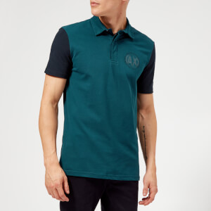 Armani Exchange Men's Contrast Sleeve Polo Shirt - Teal