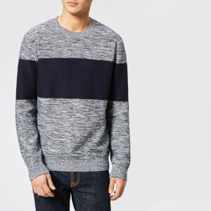 Armani Exchange Men's Wide Stripe Knitted Jumper - White/Navy